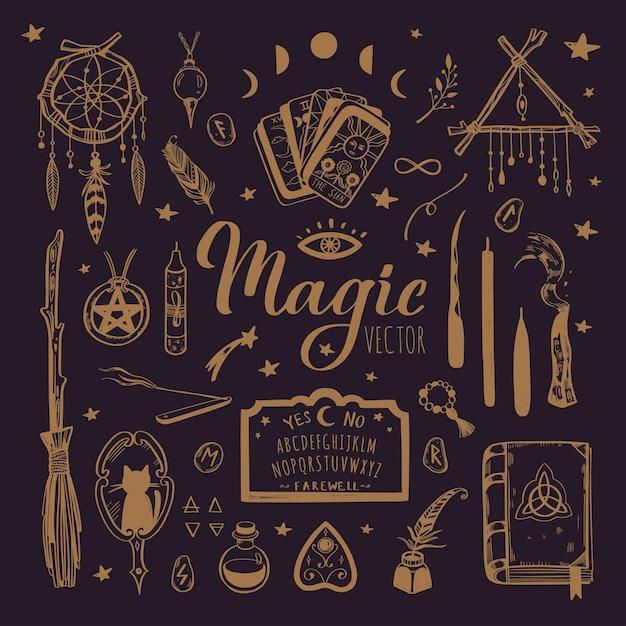 Stregoneria, sfondo magico per streghe e maghi. wicca e tradizione pagana. Vettore Premium