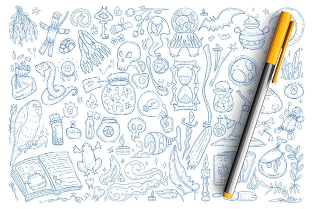Insieme di doodle di simboli magici di stregoneria. collezione di rane disegnate a mano, veleni, serpente, bambola voodoo, teschio e altri strumenti per la stregoneria isolati. Vettore Premium