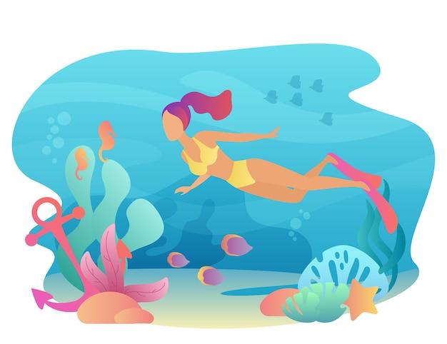Lo snorkeling di woan nuota sott'acqua con flora e fauna marina. tempo libero sportivo estivo. immersione femminile Vettore Premium