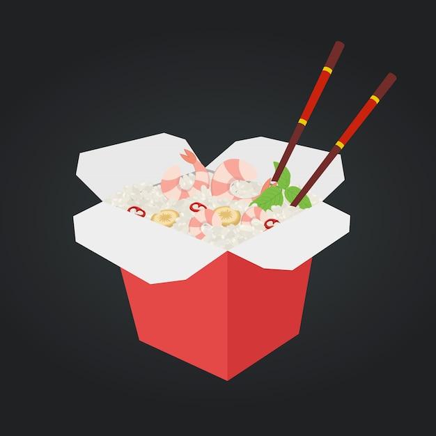 Wok con gamberi, riso. fast food in scatola. Vettore Premium