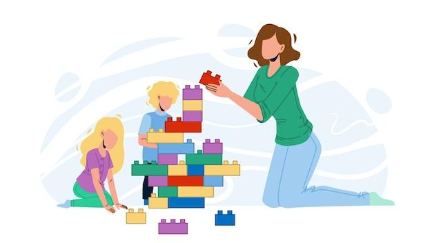 Donna babysitter e giocare con i bambini Vettore Premium