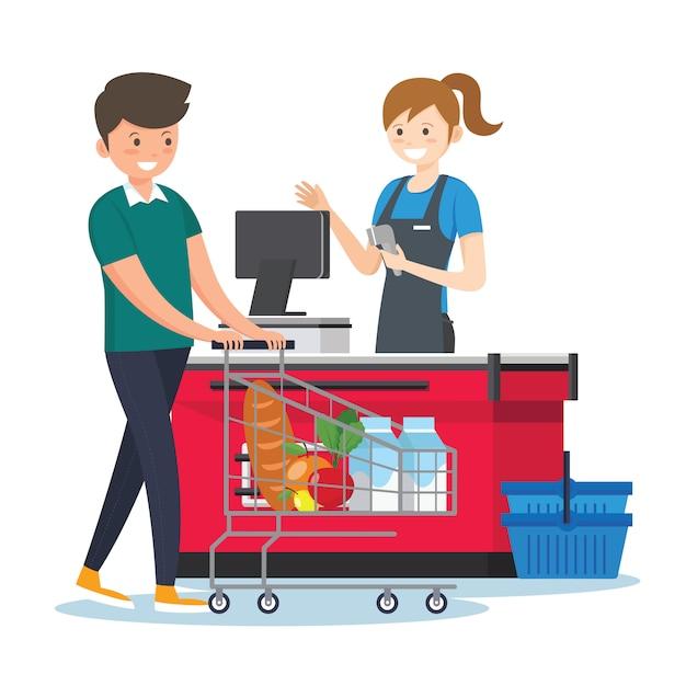 Cassiere della donna in un supermercato Vettore Premium
