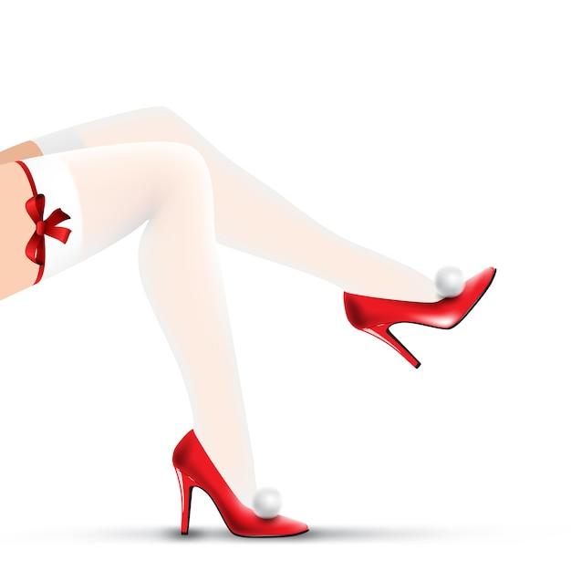 Piedini di natale della donna in scarpe rosse e calze bianche Vettore Premium