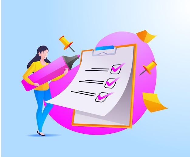 Una donna completa la lista di controllo su appunti e scartoffie Vettore Premium