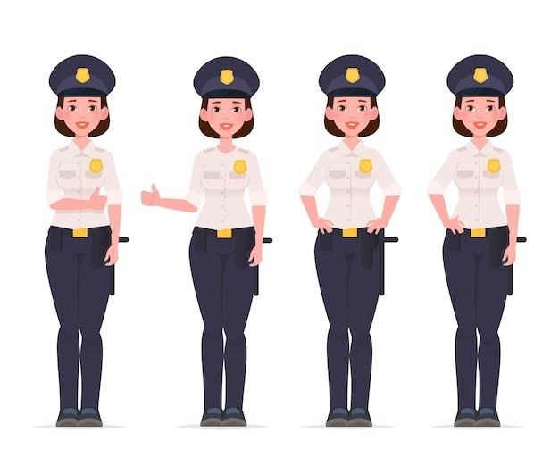 Set di caratteri di donna poliziotto. poliziotto. Vettore Premium