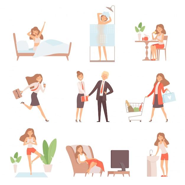 Routine quotidiana della donna. la vita del lavoro della prima colazione di signora di affari della madre si rilassa i caratteri di vettore della casa dell'ufficio di tempo Vettore Premium