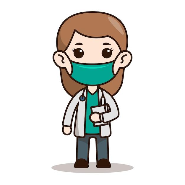 Personaggio medico donna chibi design con maschera Vettore Premium