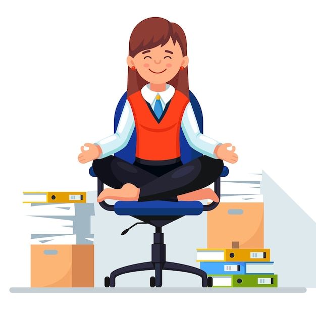 Donna che fa yoga, seduto sulla sedia da ufficio. pila di carta, dipendente stressato occupato con pila di documenti in cartone, scatola di cartone. Vettore Premium