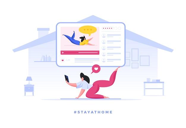 Donna che fa yoga con l'insegnante online che resta in quarantena a casa Vettore Premium