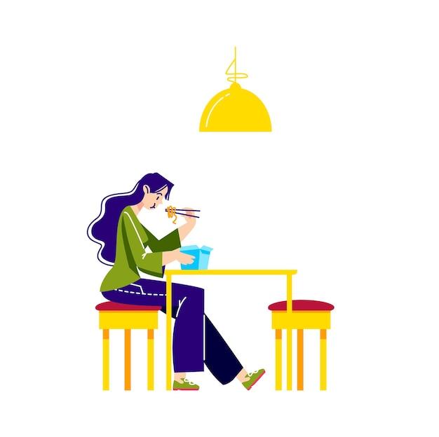 Donna che mangia tagliatelle, udon o ramen con le bacchette dalla scatola di carta per cibo di strada da asporto Vettore Premium