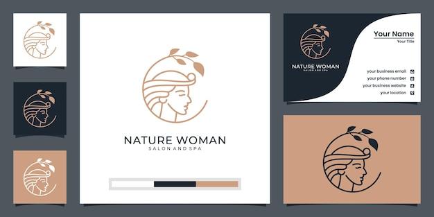 Il viso di donna si combina con il design del logo a foglia e il biglietto da visita. Vettore Premium