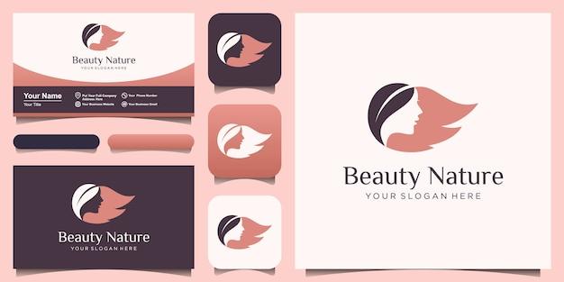 Logo del salone di donna viso e capelli foglia Vettore Premium