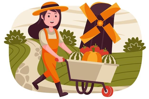 Agricoltore donna che indossa una tuta con un carrello che vende angurie, pomodori e zucche. Vettore Premium