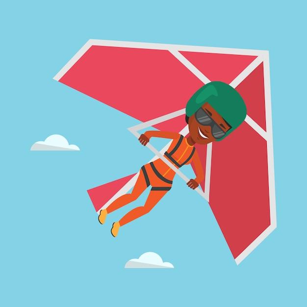Volo della donna sull'illustrazione di vettore del deltaplano. Vettore Premium
