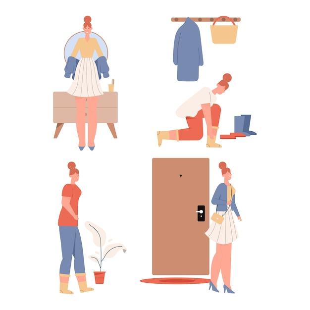 Set di scene di donna vestirsi o svestita. Vettore Premium