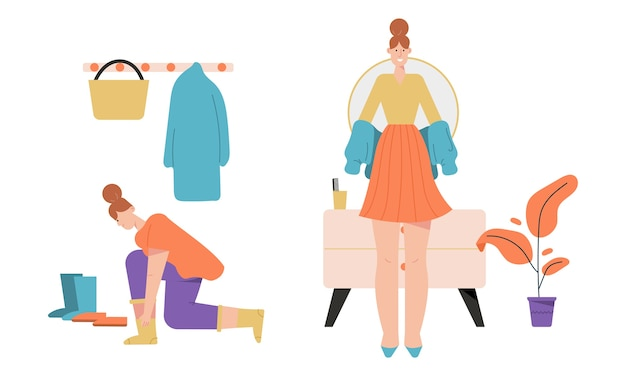 Donna vestirsi o spogliarsi e stare in piedi nelle scene del corridoio. Vettore Premium