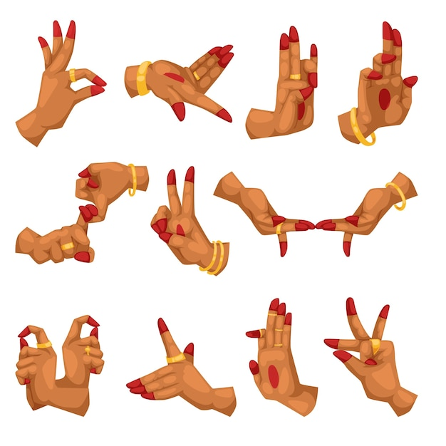 Mani della donna con namaste mudra su sfondo bianco segno e yoga indiano gesti in lingua relative all'induismo o buddismo mudra Vettore Premium