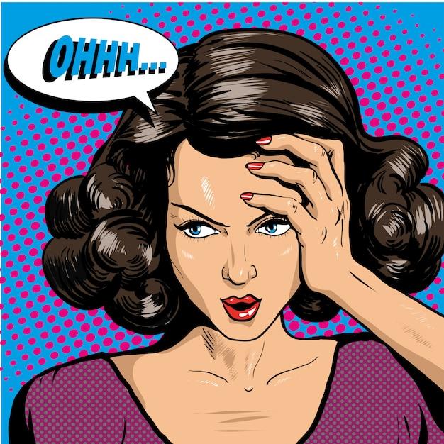 Donna che tiene la sua testa e che pensa ai problemi Vettore Premium