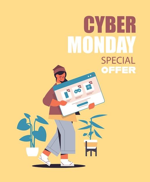 Donna che tiene la finestra del browser web shopping online cyber lunedì vendita sconti vacanze e-commerce offerta speciale concetto verticale Vettore Premium