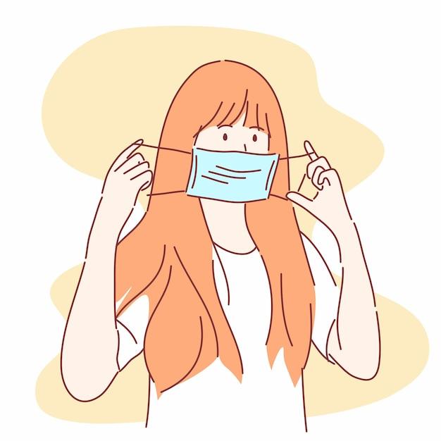 La donna sta per indossare una mascherina medica. prevenire malattie, influenza, aria contaminata, concetto. Vettore Premium