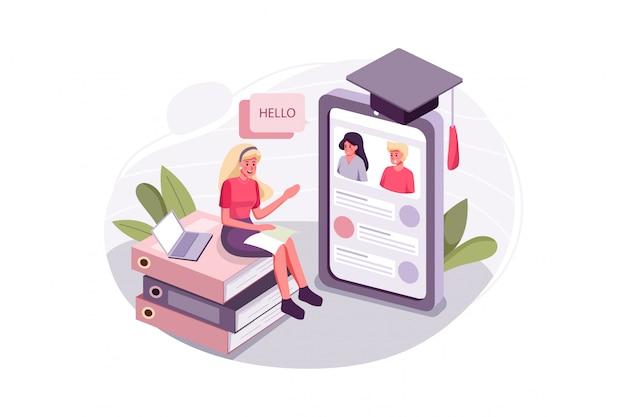 La donna impara le capacità di comunicazione con la lezione online Vettore Premium