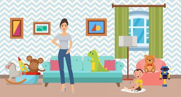 Donna e piccolo figlio a casa nell'illustrazione interna piana. camera moderna accogliente pulita, confortevole e accogliente con divano, poltrona e giocattoli. Vettore Premium