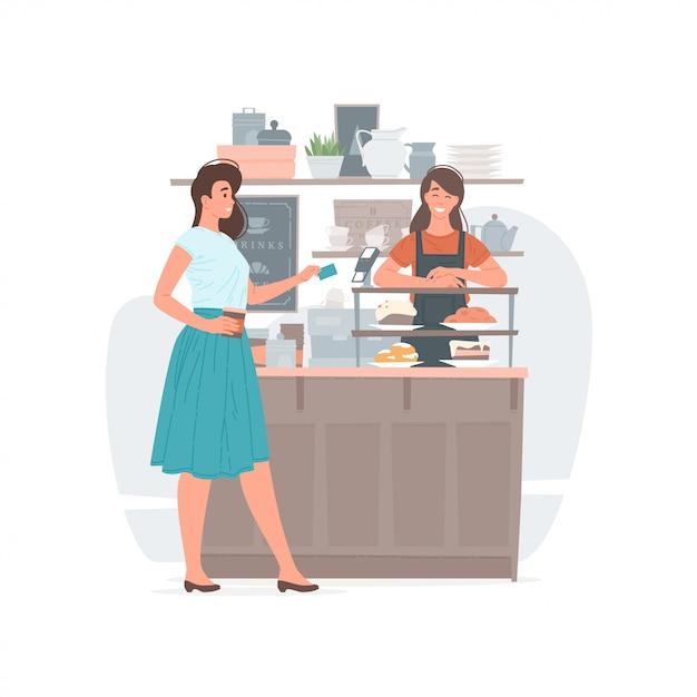 Donna che paga la bevanda in caffetteria Vettore Premium