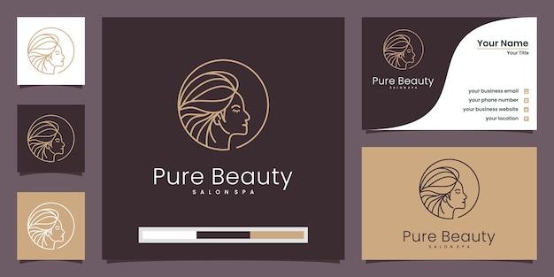 Profilo di donna, logo di pura bellezza e biglietto da visita Vettore Premium