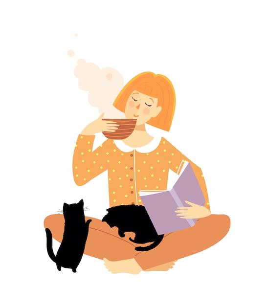 Libro di lettura della donna e bere tè o caffè con i gatti. Vettore Premium