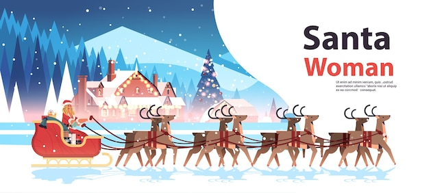 Donna in costume da babbo natale in sella alla slitta con le renne felice anno nuovo buon natale festa celebrazione concetto paesaggio invernale sfondo orizzontale copia spazio illustrazione vettoriale Vettore Premium
