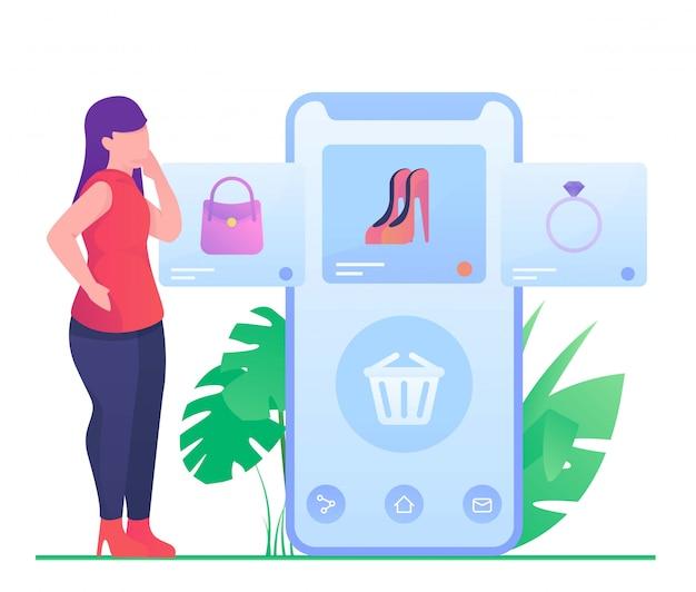Donna che compera sull'illustrazione mobile Vettore Premium