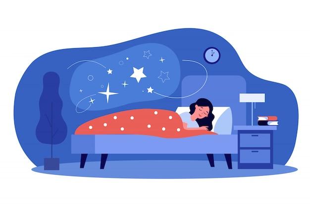 Donna che dorme nella sua camera da letto Vettore Premium