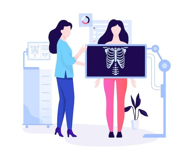 Donna in piedi dietro la radiografia e fare un esame del torace. corpo umano, scheletro. idea di radiologia e scansione corporea. illustrazione Vettore Premium