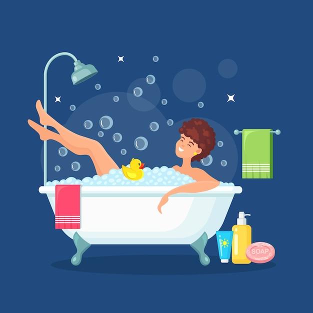 La donna fa un bagno. Vettore Premium