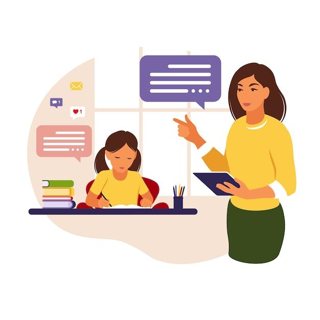 Insegnante della donna insegna alla ragazza a casa oa scuola. illustrazione concettuale per la scuola, l'istruzione e l'istruzione in casa. insegnante che aiuta la ragazza con i compiti. illustrazione di stile piatto. Vettore Premium