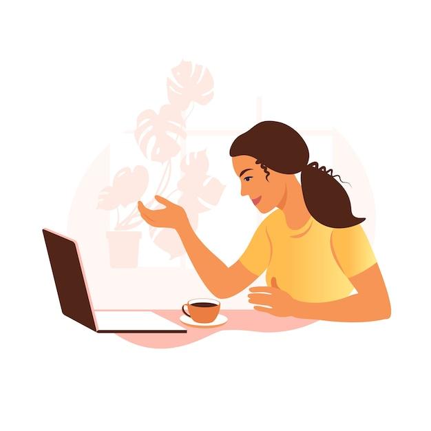 Un'illustrazione di videoconferenza della donna Vettore Premium