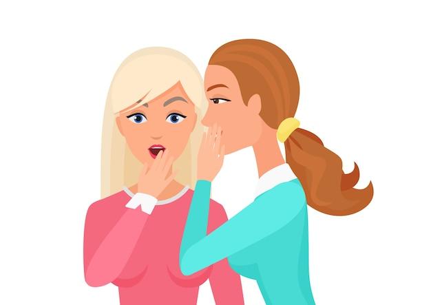 Donna che bisbiglia pettegolezzi, sorpresa, dice voci ad altri personaggi femminili. illustrazione piana della donna segreta di spettegolare Vettore Premium