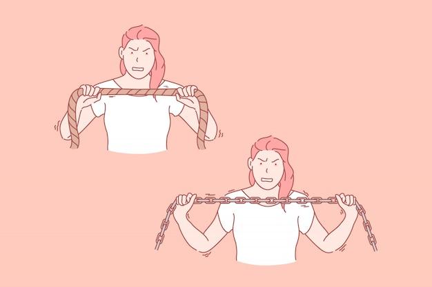 La donna alimenterà, illustrazione stabilita di resistenza Vettore Premium