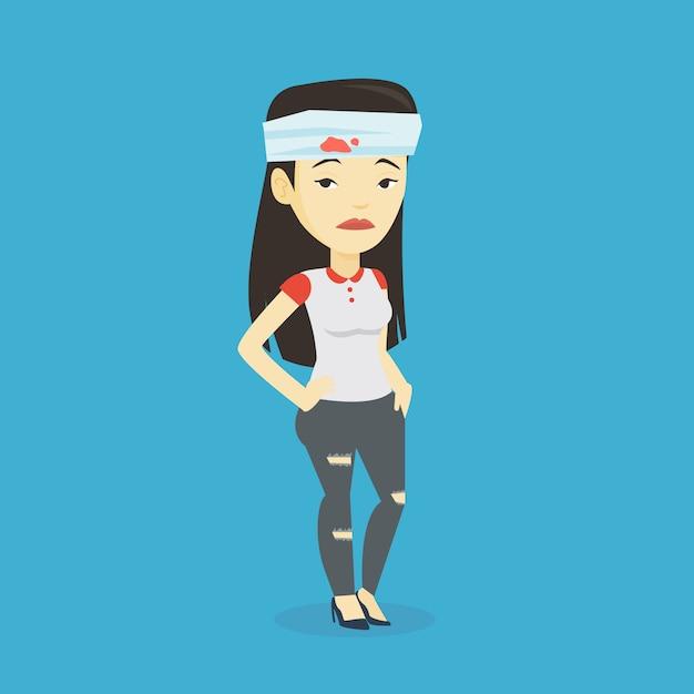 Donna con la testa ferita illustrazione. Vettore Premium