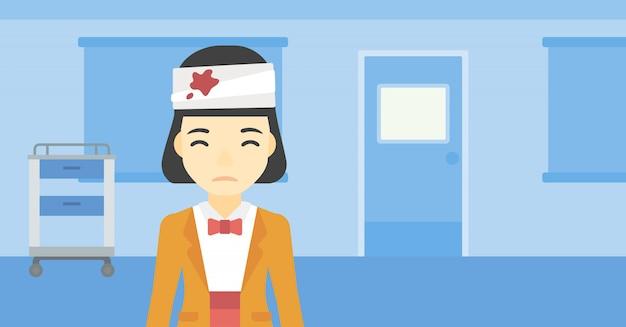 Donna con illustrazione vettoriale testa ferita. Vettore Premium