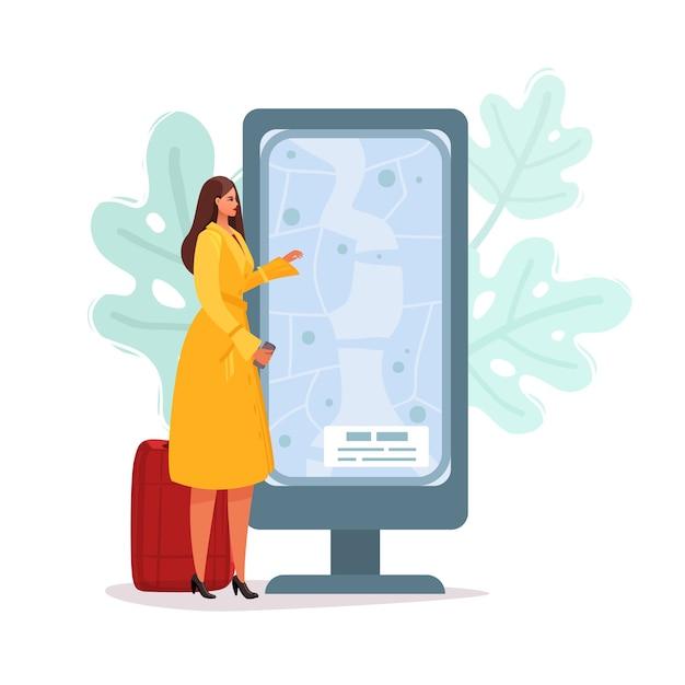 Una donna con i bagagli si trova vicino al tabellone delle informazioni. illustrazione del fumetto piatto Vettore Premium