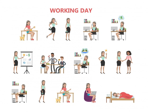 Giorno lavorativo della donna Vettore Premium
