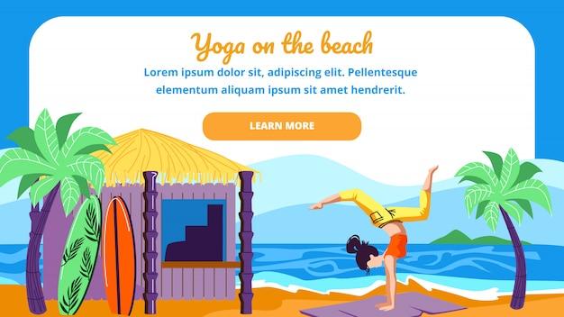 Donna nella posa di asana di yoga dello scorpione sulla spiaggia del mare Vettore Premium