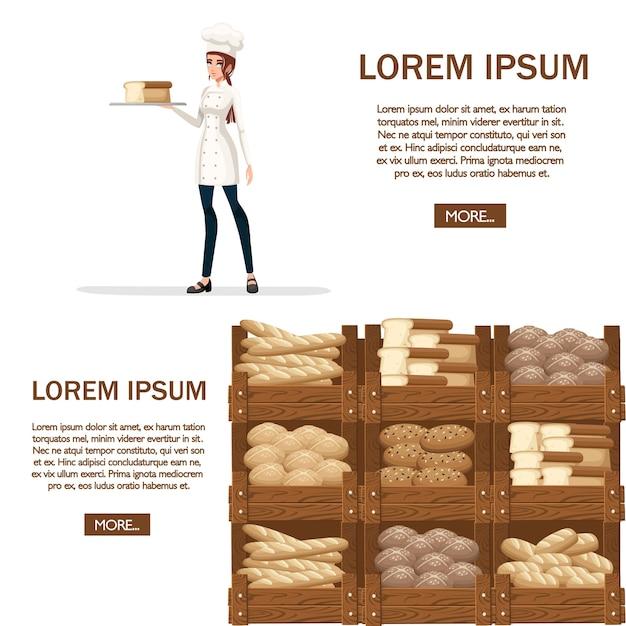 Chef di panetteria donne. illustrazione su sfondo bianco. Vettore Premium