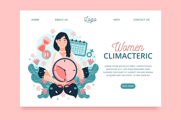 Pagina di destinazione del climaterio femminile Vettore Premium