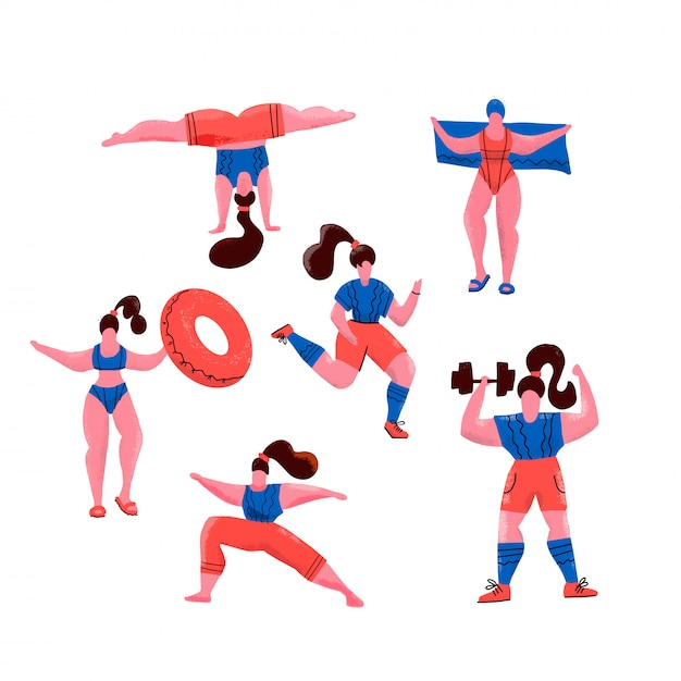 Le donne fanno sport. pose di yoga, esercizi per uno stile di vita sano, nuoto in piscina ,. illustrazione piatta di ragazze carine. allenamento in palestra e parco su bianco. fitness per ogni donna. Vettore Premium