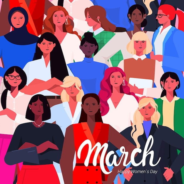 Gruppo di donne che celebra la giornata internazionale della donna l'8 marzo Vettore Premium