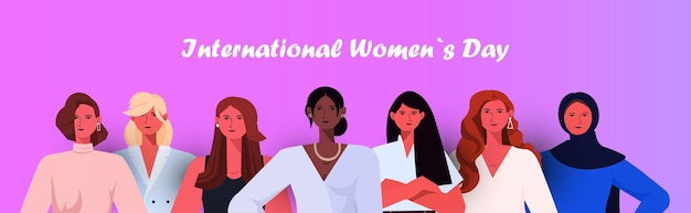 Gruppo di donne che celebra banner festa della donna 8 marzo Vettore Premium