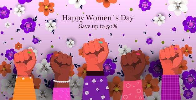 Gruppo di donne che alza i pugni per il banner di vendita della festa della donna dell'8 marzo Vettore Premium