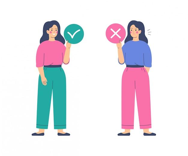 Le donne tengono cerchi con segni di accettazione e rifiuto. sì e nessun concetto. illustrazione vettoriale Vettore Premium
